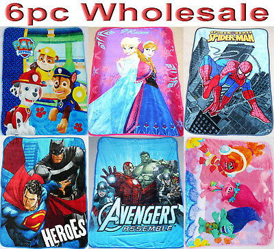 6pc Wholesale Kids Fur Fleece Blanket Frozen Avengers Paw patrol Throw Mixed