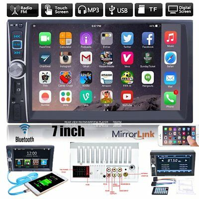 "7"" HD Double 2DIN Bluetooth Touch Car Radio Stereo MP5 MP3 Player FM/USB/TF/AUXW"