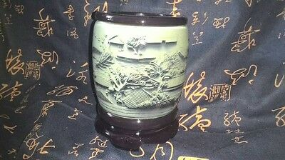 CNY SALE! Exquisite Chinese River Weighted Carved Stone Rotating Pen Holder Gift