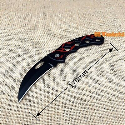 Pocket Knife Foldable Black Camping Hiking Survival Knives Fishing