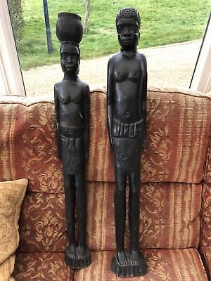 """2 Huge Solid African Ebony Tribal Statue Carvings - 36"""" tall; 11kg! Woodturning?"""