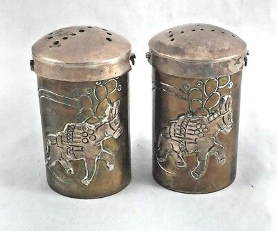 Margarita Taxco Mexico Mixed Metal Silver & Copper Salt & Pepper Shakers