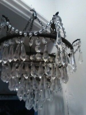vintage glass hanging chandelier ormantial for display.