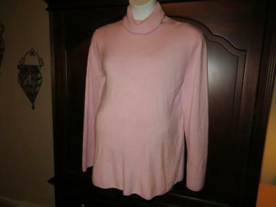 3X MATERNITY SWEATER Soft Pretty Pink Ribbed Turtleneck Two Hearts Plus Size !