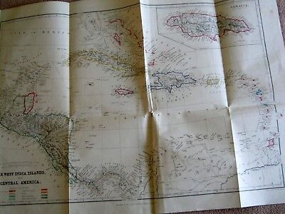 1860 Large Antique Map - Drawn By Lowry- West India Islands And Central America