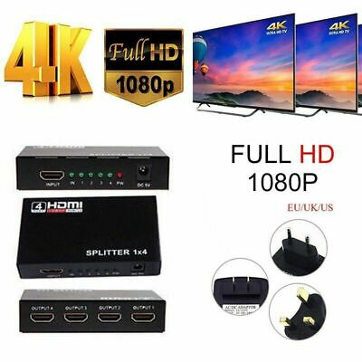 HD 4K 4 Port HDMI Splitter Repeater Amplifier 1080P 3D Hub 1 In 4 Out NEWEST