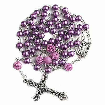 Catholic Purple Pearl Beads Rosary Necklace 6pcs Our Rose Lourdes Medal  Cross