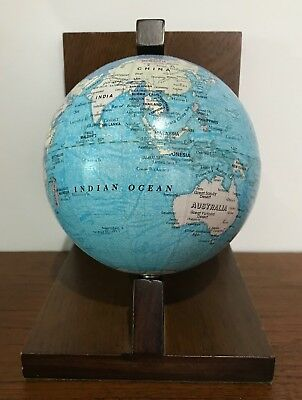 VINTAGE PAPER GLOBE & TIMBER BOOK END ANTIQUE Reading Office Study Stay RETRO
