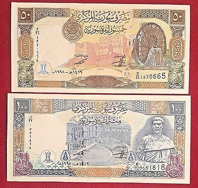 Syria 50 & 100 pounds 1998 UNC - set of 2 banknotes P107 & P108