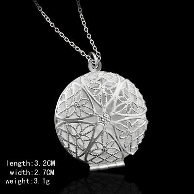 Round Hollow Flowers Lady 925 Silver PLT Photo Pendant Chain Necklace With Chain