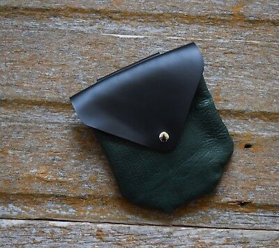 Handmade Leather Belt Pouch: Green and Black - LARP, SCA, Costume, Ren Faire