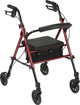 NEW Drive Medical Red Rollator Folding Adjustable Walker Adult 4 Wheels FGR800RD