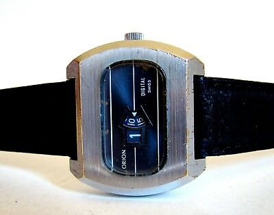 ORION SWISS SCHEIBENUHR Markant Unisex vintage Jump Hour Watch Space Age 60er
