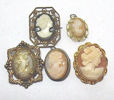 ANTIQUE Vintage Jewelry Lot 5 PIECES GOLD FILLED PENDANT PIN LOT 7 4/19 21 GRAMS