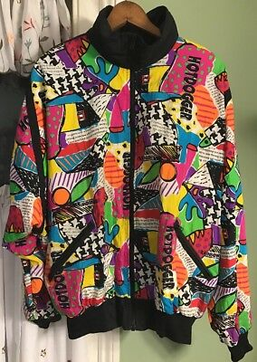 Vintage Retro Hot Dogger Neon Nylon Track Suit Multi Color Jacket Pants Size L