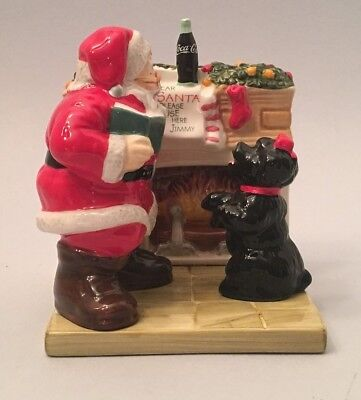 """Coca Cola """"Holiday Portraits"""" Salt & Pepper Shakers - Santa and Excited Puppy"""