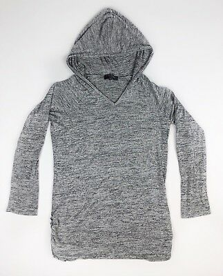 LOVE DELIRIOUS Maternity Hoodie Womens Sz XL Gray Soft gathered sides RUCHING