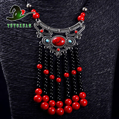 @Necklace & Tibet Silver Inlay Red Turquoise Pendant & Red Coral Tassels @M2007