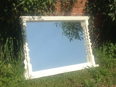 Old Vintage French  Large Pine Frame Over Mantle Mirror AMAZING WOW