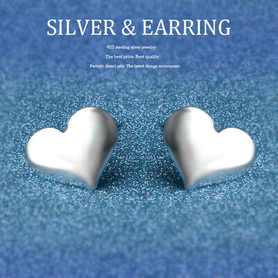EGG HEART 925 STERLING SILVER PLT EAR  BUTTERFLY STUD EARRINGS Cute Simple Lady