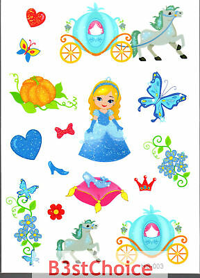 UK Fairy tale Cinderella Girl Kid Party crystal shiny Glitter Temporary Tattoo