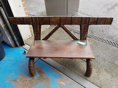 Unusual Old Wooden Horn Legged Bench African Style