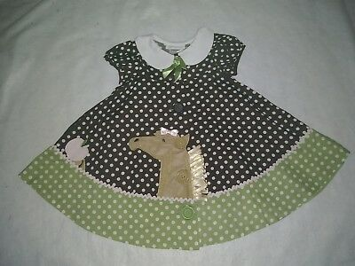 Girls size 12M Bonnie Jean Polka Dot and Striped Knit and Cotton Dress NWT