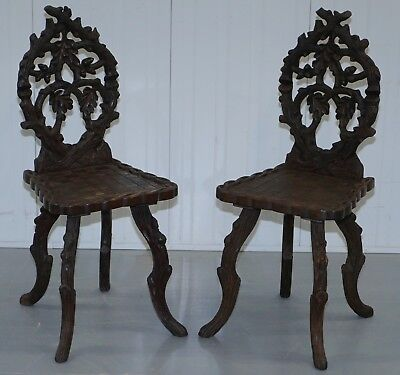 Very Rare Pair Of Circa 1870 Linden Wood Black Forrest Carved Wood Hall Chairs