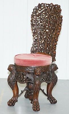 Rare Antique Chinese Heavily Carved Hall Chair Barrel Back Lion Hairy Paw Birds