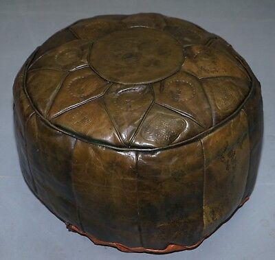 Vintage Irish Heritage Leather Footstool Pouffe Depicting Egyptian Scenes