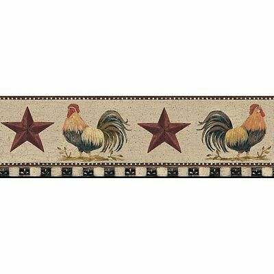 Barnyard Roosters on Taupe with Folk Art Stars Wallpaper Border YC3401BD