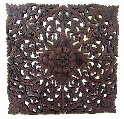 Hand Carved Teak Wood Wall Sculpture Square Wooden Plaque Relief Panel Flower 24
