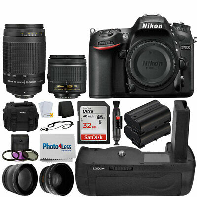 Nikon D7200 Digital SLR Camera + 4 Lens 18-55mm VR 70-300 +32GB Battery Grip Kit