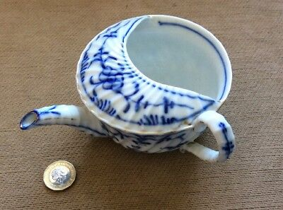 Antique Large Blue And White Invalid Feeding Cup, Pap Boat Meissen Style