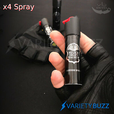 4 PACK Police Magnum Pepper Spray 1/2 oz ounce Safety Lock Self Defense Security