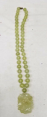 Antique Vintage Chinese Carved Soapstone Serpentine Necklace Jade Like Silver
