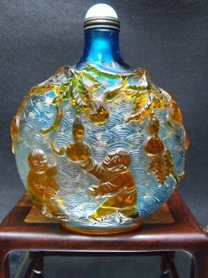 Very large  Exquisite Chinese Peking glass hand carved snuff bottle       2