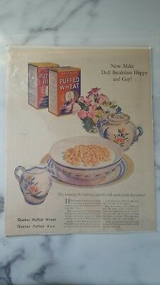 Vintage Quaker Puffed Wheat Magazine ad Make dull breakfasts happy and gay