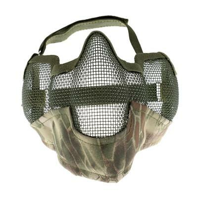 Lovoski Outdoor Steel Mesh Half Face Mask / Mouth Guard Hunting Game Green