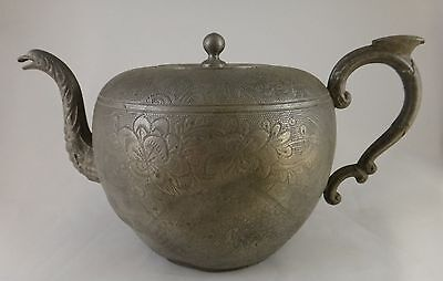 """Antique Chinese Engraved Kut Hing Swatow Pewter Teapot. 2nd ½  19th c.  9 ½"""""""