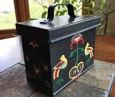 Vintage METAL RECIPE BOX with Lid Hand Painted 1967 Flowers & Doves All ORIGINAL