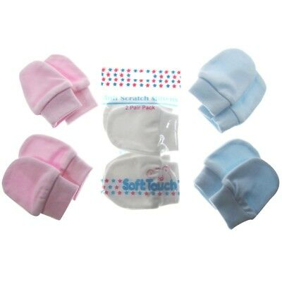 Baby Unisex Scratch Mitts Mittens - Bagged Pack of 2 Pink Blue White Boy Girl