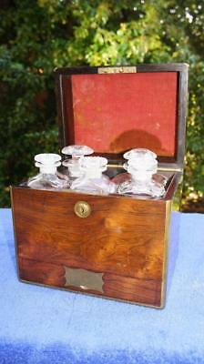 Superb Early 19thC Rosewood & Brass Bound Decanter, Campaign Box, 5 Decanters