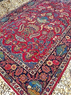 Old fine Persian kashan pictorial rug 205cm x 138cm antique rug wool handknotted