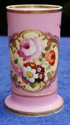 Good Antique Spill Vase, Hand Painted Flowers.  1840s