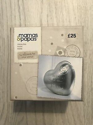 Mamas & Papas Welcome To The World Silver Heart Moneybox