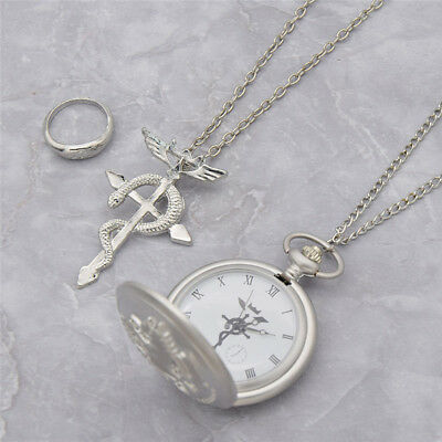 Japanese Anime Alchemist Dull Polish Pocket Watch Necklace Ring Full Metal Gift