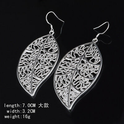 OVER SIZE LEAF Lady Girl 925 STERLING SILVER FISH HOOK TASSEL DANGLE EAR EARRING
