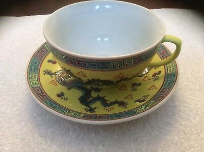 Chinese Dragon Cup and Saucer