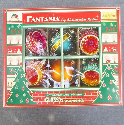 Radko Fantasia Christmas Ornaments CROWN SPARKLE Indents - NEW In Box - Set of 6